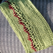 "Check out Lisa's cowl crocheted with ""zombie colors""."