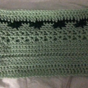 Brenda's cowl looks great with the green and black.