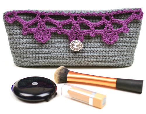crochet lacy cosmetic bag