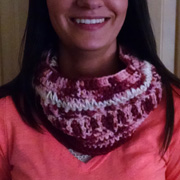 Check out Gayle's cowl with the pretty pinks.