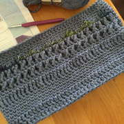 Linda's cowl looks great with all the different stitches.