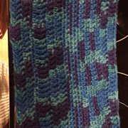 Loving Wendy's variegated blue and purple cowl.