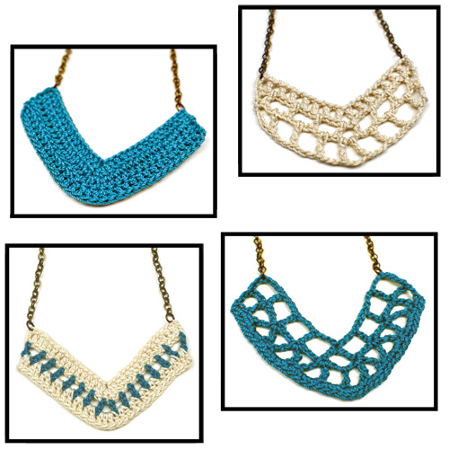 crochet v pendant necklaces