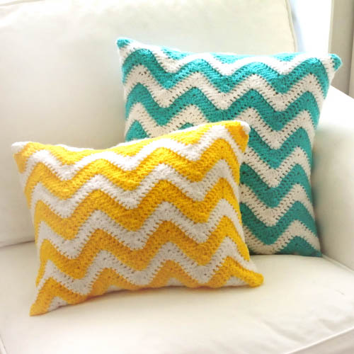 crochet chevron pillow covers