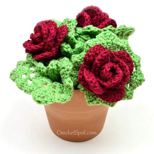 Crochet Flower Pattern Rose By Rachel Choi : Crochet Spot Blog Archive Crochet Pattern: Rose Bush ...