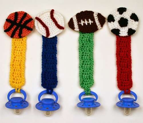 crochet sporty pacifier holders