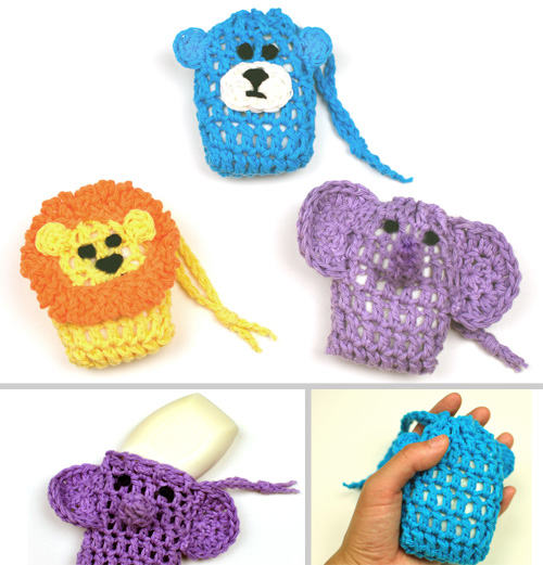 crochet animal soap savers