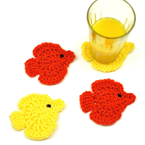 crochet fish coasters