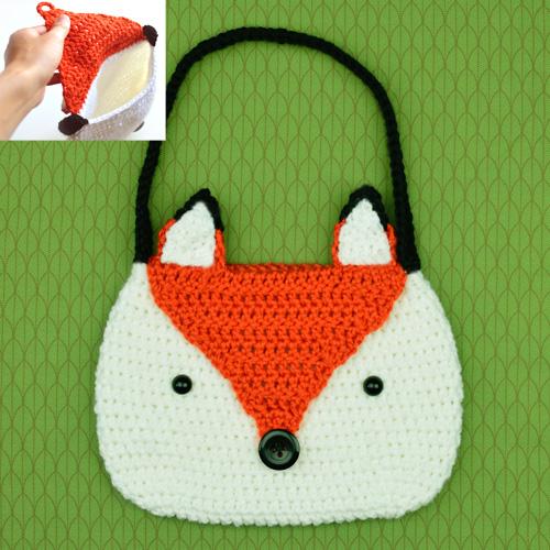 crochet fox purse