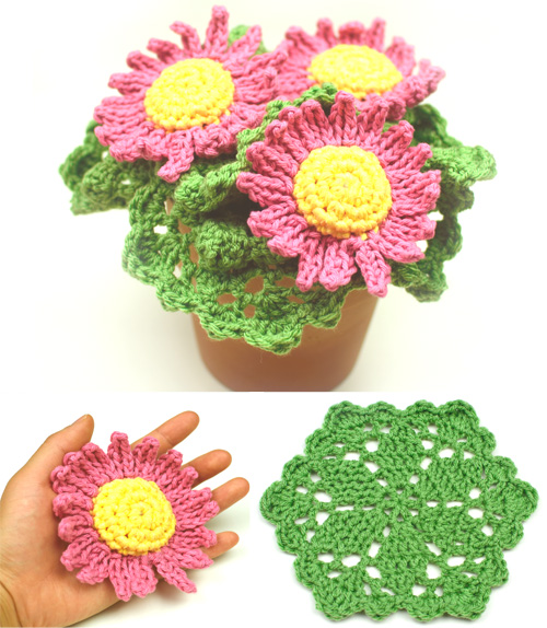 crochet pot of daisy scrubbies