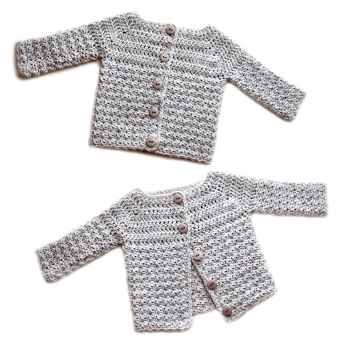 4b1832a7d This cozy little sweater is great for baby boys and girls. The unisex  design uses simple stitches to give a classic look. The sweater is crocheted  all in ...